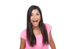 Surprised happy Indian woman screaming and looking at camera. Royalty Free Stock Photo