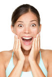 Surprised happy smiling young woman. Closeup portrait. Beautiful cheerful Asian model in her 20s stock photography
