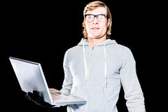 Surprised hipster man staring at camera Stock Photography