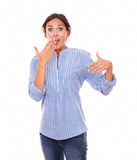 Surprised hispanic lady with funny face Royalty Free Stock Image