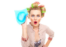 Surprised housewife Royalty Free Stock Images