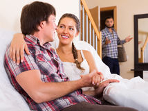 Surprised husband coming home Stock Photos