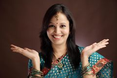 Surprised Indian traditional woman Stock Image