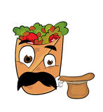 Surprised kebab cartoon Royalty Free Stock Photography