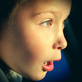 Surprised Kid. Face with Opened Mouth closeup Royalty Free Stock Image