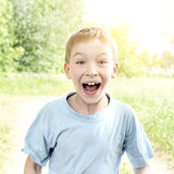 Surprised Kid outdoor Royalty Free Stock Image