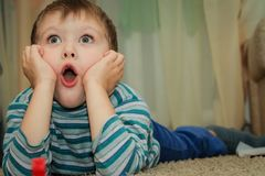 5501aac64 The boy is surprised stock image. Image of cute, blonde - 112260775