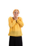 Surprised lady covering mouth. Amazed senior woman isolated. Wonders are real Stock Photo