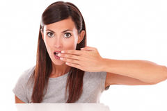 Surprised lady with error gesture looking at you Royalty Free Stock Images