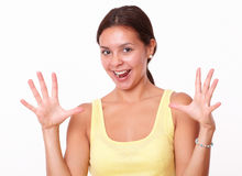 Surprised latin girl looking at you Stock Images