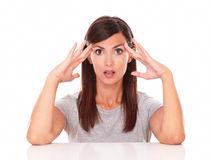 Surprised latin woman asking a question Stock Photos