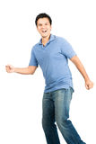 Surprised Latino Male Caught Off Guard Walking Stock Photos