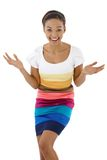 Surprised laughing ethnic girl stock photo
