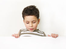 Surprised little boy. On white background Stock Image