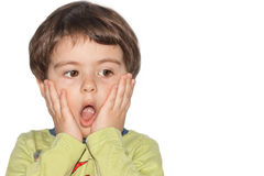Surprised little boy. Surprised cute little boy isolated on white background Stock Images