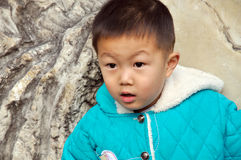 Surprised little boy face. A little boy is surprised at something that he found Royalty Free Stock Photography