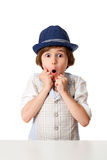 Surprised little boy in hat Royalty Free Stock Photography