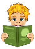 Surprised little boy reading interesting book. Over white background royalty free illustration