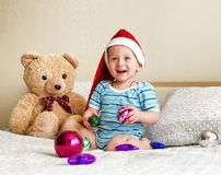 The surprised little boy in a red cap. Royalty Free Stock Photo