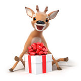 Surprised little cartoon deer with a gift  Stock Photo