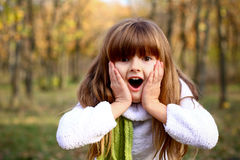 Surprised little girl in the autumn forest Royalty Free Stock Photography