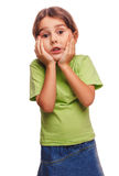 Surprised little girl child opened her mouth Stock Image