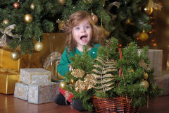 surprised little girl in Christmas Stock Photography