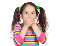 Surprised little girl with covered his mouth Royalty Free Stock Photo
