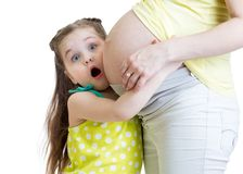 Surprised little girl with her pregnant mother Royalty Free Stock Photo