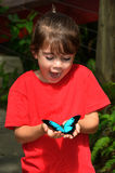 Surprised little girl holds a Ulysses Swallowtail. Surprised little girl holds in her hands a Ulysses Swallowtail (Papilio ulysses) is a large swallowtail royalty free stock image