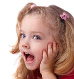Surprised little girl  isolate on white Stock Images