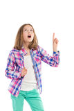 Surprised little girl pointing up Royalty Free Stock Photo
