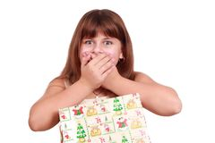 Surprised little girl with present box Stock Photo