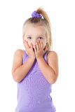Surprised little girl in purple t-shirt Stock Image