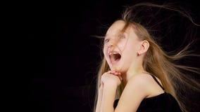 Surprised little girl. stock footage