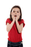 Surprised Little Girl. On white background royalty free stock photo