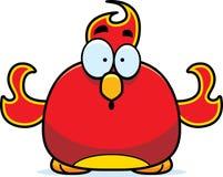 Surprised Little Phoenix. A cartoon illustration of a phoenix bird looking surprised Stock Photos