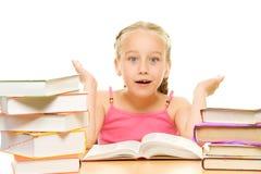 Surprised little schoolgirl Stock Image