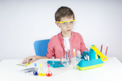 Surprised little scientist Royalty Free Stock Photos