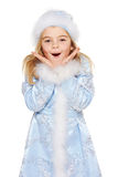 Surprised little snow maiden Stock Photos