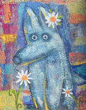 Surprised little wolf with daisy on abstract colored background. Stock Image