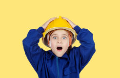 Surprised little worked construction Royalty Free Stock Image