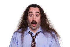 Surprised long haired Man2. A long haired man with a surprised expression Royalty Free Stock Image