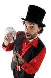 Surprised magician. Doing a trick of letters royalty free stock images