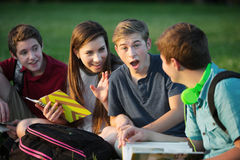 Surprised Male Student. Gossiping with friends outdoors Royalty Free Stock Photos