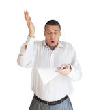 The surprised man. The adult man had a nervous stress from the occurred event Stock Photography