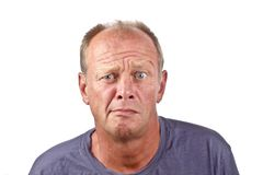 Surprised man. Surprised looking man on a white background Royalty Free Stock Photo