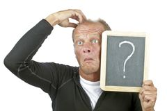 Surprised man. With a chalkboard with questionmark Royalty Free Stock Photography