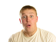 Surprised man. Isolated stock photography