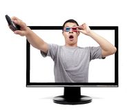 Surprised man with 3D glasses Stock Photography